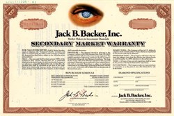 Jack B. Backer, Inc.(Market makers in investment diamonds)  - New York