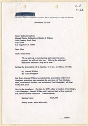 Incredible letter from Jack Kent Cooke letter to his Attorney regarding outrage with  Los Angeles Laker, Jamaal Wilkes and his agent - 1978