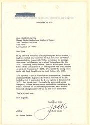 Jack Kent Cooke signed Letter regarding L. A. Lakers', Jamal Wilkes - California 1978
