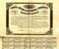 James River and Kanawha Company (James River and Kanawha Canal was a project first proposed by George Washington) - Richmond, Virginia 1870