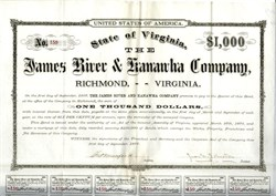 James River and Kanawha Company  $1000 Bond (James River and Kanawha Canal was a project first proposed by George Washington)  1877