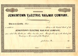 Jenkintown Electric Railway Company - Pennsylvania 1890's