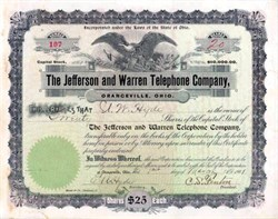 Jefferson and Warren Telephone Company 1901 - Ohio