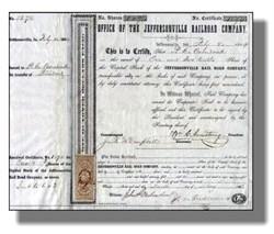 Jeffersonville Railroad Company 1850's - Indiana