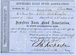 Jewelers Loan Fund Association - North Attleborough, Massachusetts 1857