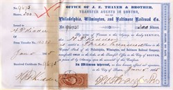 J. E. Thayer and Bro. (Pre Kidder Peabody) signed by H.P. Kidder (founder of investment bank Kidder Peabody) 1865 - Philadelphia, Wilmington, and Baltimore Railroad