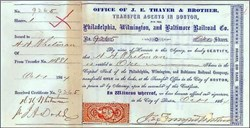 J. E. Thayer and Bro. (Pre Kidder Peabody) 1864 with Civil War Era Tax Stamp - Philadelphia, Wilmington, and Baltimore Railroad - Issued During Civil War