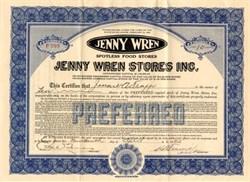 Jenny Wren Stores Inc.  - Delaware 1922