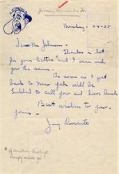 Jimmy Durante handwritten letter -  1938