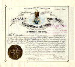 "J.I. Case Threshing Machine Company with famous  ""Old Abe"" Vignette (Became International Harvester ) hand signed by Frank Bull - Wisconsin 1907"