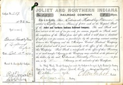 Joliet and Northern Indiana Railroad Company signed by Cornelius Vanderbilt - United States 1892