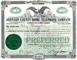 Johnson County Home Telephone Company Certificate #1 - Nebraska 1906