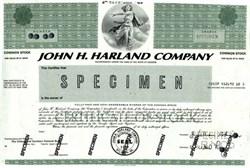 John H, Harland Company Stock Certificate- 1981