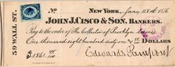 John J. Cisco & Son, Bankers hand signed by Edwards Pierrepont (33rd United States Attorney General ) 1880
