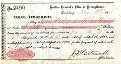 Civil War related Check signed by John Hartranft 1865 - Civil War Medal of Honor Winner
