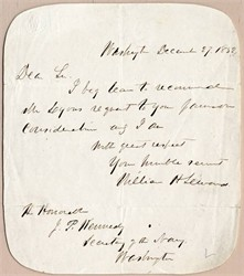 William H Seward, handwritten and signed letter to Secretary of the Navy, John P. Kennedy - 1852