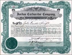 Jordan Carburetor Company 1919