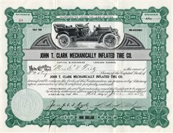 John T. Clark Mechanically Inflated Tire Company - Utah 1913