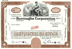 Burroughs Computer Corporation Specimen Stock Certificate ( Became Unisys )