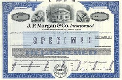 J. P. Morgan & Co. Incorporated Floating Rate Australian Dollar Note Specimen - Delaware