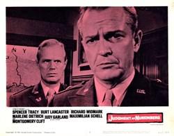 Judgement at Nuremberg Lobby Card Starring Spencer Tracy, Burt Lancaster, and Richard Widmark - 1961