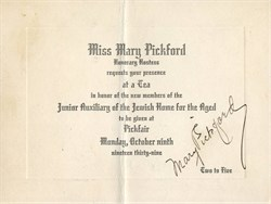 Junior Auxiliary of the Jewish Home for the Aged signed by Mary Pickford - 1939