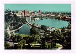 Jumbo Postcard from MacArthur Park and Wilshire Boulevard, Los Angeles, California