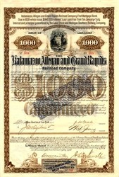 Kalamazoo, Allegan and Grand Rapids Railroad Company signed by Western Union Telegraph Founder - Michigan 1888