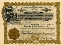 Kansas City Goldfield Mining Company - Arizona 1908