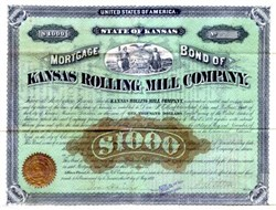 Kansas Rolling Mill Company  - Signed by Dan Parmelee Eells - Rosedale, Kansas 1879