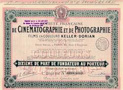 Keller-Dorian Cinematography - Societe Francaise De Cinematographie et de Photographie 1928 - 1929