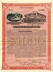 Kentucky Mineral and Timber Company  signed by Thomas Fortune Ryan  and  Union General Brayton Ives - New Jersey 1892