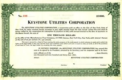 Keystone Utilities Corporation  - Delaware 1934