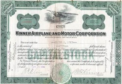 Kinner Airplane and Motor Corporation handsigned by W. B. Kinner  - 1929