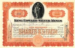 King Edward Silver Mines (Vignette of King Edward VII of England) - Maine 1909