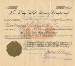 King Gold Mining Company - Cripple Creek, Colorado 1902