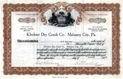 Kleckner Dry Goods Company - Pennsylvania 1920