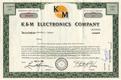 K & M Electronics Company - Baltimore, Maryland 1969
