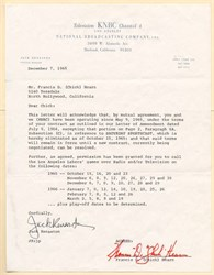 KNBC Channel 4 letter signed by Francis D. (Chick) Hearn (Los Angeles Lakers) - California 1965
