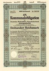 1000 Reichsmark Kommunalobligation- Deutchen Vohnstätten-Hypothekenbank (Municipal Bond) WWII Era - Berlin, Germany 1943