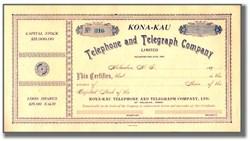 Kona-Kau Telephone and Telegraph Company of Holualoa, Hawaii 1890's