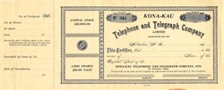 Kona-Kau Telephone and Telegraph Company - Hawaii, 1890's