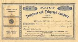 Kona-Kau Telephone and Telegraph Company - Holualoa, Territory of Hawaii 1902
