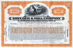 Kreuger & Toll Company - Stockholm, Sweden 1930 - Famous Fraud Issued to Duluth Congdon Family and Trust