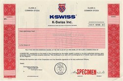 K Swiss Inc. ( Tennis Sporting Goods ) - Delaware 1990