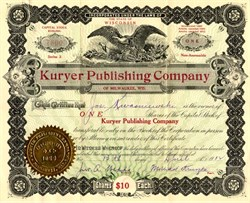 Kuryer Publishing Company (First Polish Newspaper in U.S.)  signed by Michael Kruszka - Milwaukee, Wisconsin 1913