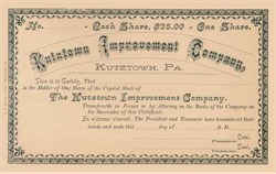 Kutztown Improvement Company 1890's