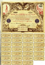 Banca D'America e d'Italia (Bank of America and Italy), Rome, 1923 Share Certificate