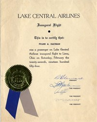 Lake Central Airlines Inaugural Flight Certificate signed by Company Officers- 1954