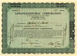 LaFrance - Republic Corporation - Michigan 1929